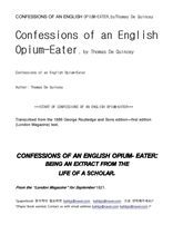 영국의 아편중독자CONFESSIONS OF AN ENGLISH OPIUM-EATER