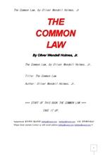 보통법.관습법.The Common Law, by Oliver Wendell Holmes, Jr