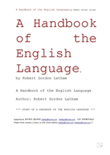 영어언어핸드북.A Handbook of the English Language,by Robert Gordon Latham