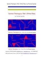 토마스아퀴나스의 신학전서,대전.제1권.Summa Theologica, Part I (Prima Pars), by Thomas Aquinas