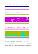 의학적 희로애락의 감정의 기원과 본성.The Origin and Nature of Emotions by George W. Crile