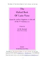 초기 로마제국의 라틴어 시 구절.The Book of The Oxford Book of Latin Verse, by Various