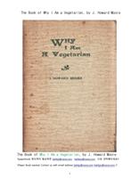 왜 채식주의자인가.The Book of Why I Am a Vegetarian, by J. Howard Moore J. Howard