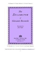 복카치오의 데카메론.The Decameron of Giovanni Boccaccio, by Giovanni Boccaccio