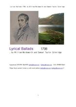 서정가요집 抒情歌謠集.1798년도.Lyrical Ballads 1798, by William Wordsworth and Samuel Taylor Colerid