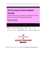 고대왕국의 연대기.The Chronology of Ancient Kingdoms Amended by Isaac Newton