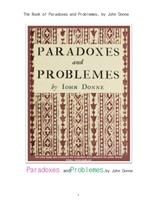 논리 철학에서의 역설과 문제들.The Book of Paradoxes and Problemes, by John Donne