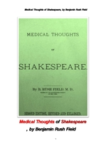 섹스피어의 의학적사고.Medical Thoughts of Shakespeare, by Benjamin Rush Field